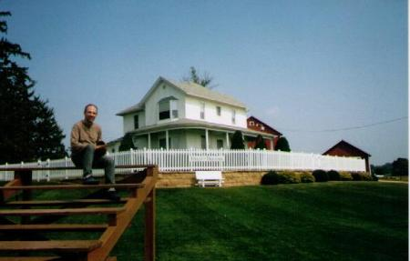 Fred on the bleachers at the Field of Dreams