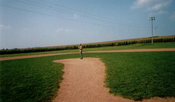 Fred on the pitcher's mound at the Field of Dreams (I'm in this one, too! See me?)